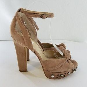 GUESS Kenzie Platform Studded Ankle Strap Heels 10